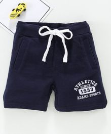 Adams Kids Letter Patch Mid Rise Regular Shorts - Navy Blue