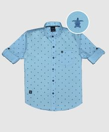 CAVIO Turtle Printed Full Sleeves Shirt - Light Blue