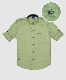 CAVIO Thumbs Up Print Full Sleeves Shirt - Green