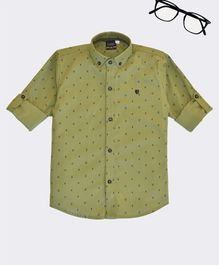 CAVIO Ice Cream Print Full Sleeves Shirt - Green