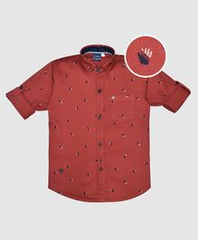 CAVIO High Five Print Full Sleeves Shirt - Red