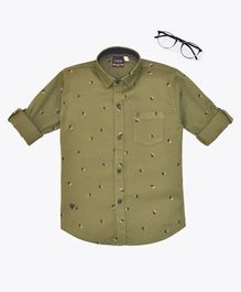 CAVIO High Five Print Full Sleeves Shirt - Dark Green