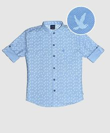 CAVIO Pigeon Print Full Sleeves Shirt - Blue