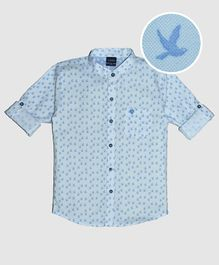 CAVIO Pigeon Print Full Sleeves Shirt - Light Blue