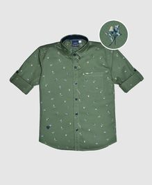 CAVIO Flower Print Full Sleeves Shirt - Green