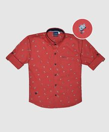 CAVIO Flower Print Full Sleeves Shirt - Red
