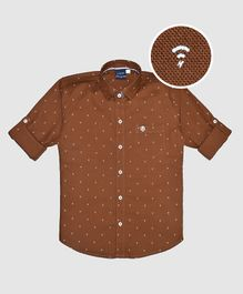 CAVIO Wi-Fi Print Full Sleeves Shirt - Brown