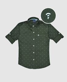 CAVIO Wi-Fi Print Full Sleeves Shirt - Olive Green