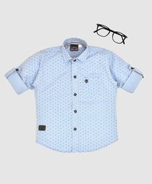 CAVIO Printed Full Sleeves Shirt - Blue