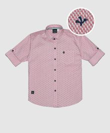 CAVIO Printed Full Sleeves Shirt - Pink