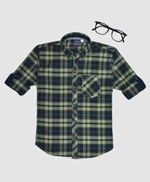 CAVIO Checked Full Sleeves Shirt - Indigo & Green