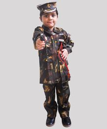 Chipbeys Fancy Dress Full Sleeves Army Themed Costume With Toy Gun Cap Hostler & Whistle - Green
