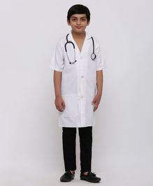 Chipbeys Fancy Dress Three Fourth Sleeves Doctor's Coat With Stethoscope - Off White