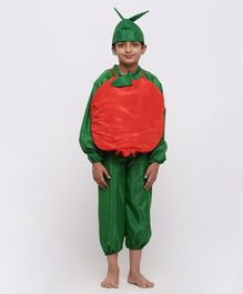 Chipbeys Fruit Pomegranate Full Sleeves Fancy Dress Costume With Prop & Cap - Green & Red