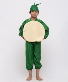 Chipbeys Fruit Sapodilla Full Sleeves Fancy Dress Costume With Prop & Cap - Green & Brown