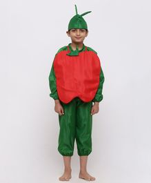 Chipbeys Fruit Apple Full Sleeves Fancy Dress Costume With Prop & Cap - Green & Red