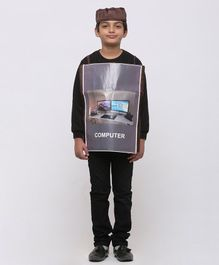 Chipbeys Full Sleeves Computer Fancy Dress Costume With Prop & Cap - Grey & Black