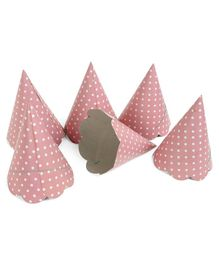 B Vishal Polka Dots Print Paper Caps Peach - Pack of 10