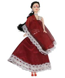 Planet of Toys Doll with Lehenga Maroon - Height 28 cm
