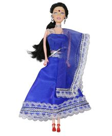 Planet of Toys Doll with Lehenga Blue - Height 28 cm