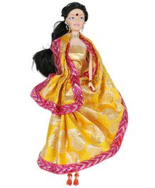 Planet of Toys Doll with Saree Yellow - Height 28 cm