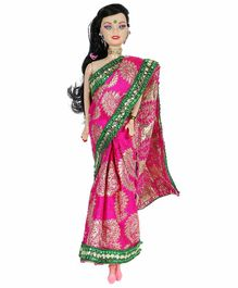 Planet of Toys Doll with Saree Pink - Height 28 cm