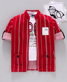 Dapper Dudes Half Sleeves Rock Printed Tee With Striped Jacket - Red