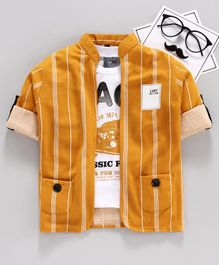 Dapper Dudes Half Sleeves Rock Printed Tee With Striped Jacket - Yellow