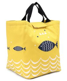 Insulated Lunch Box Bag with Fish Print - Yellow