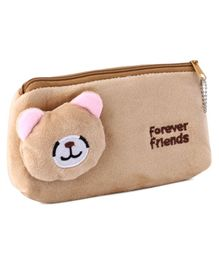 Plush Pencil Pouch Teddy Motif - Brown