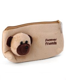 Dog Motif Pencil Pouch - Brown