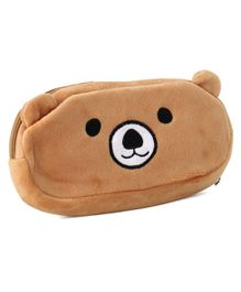 Plush Pencil Pouch Bear Embroidery - Brown