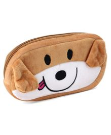 Plush Pencil Pouch Dog Embroidery - Brown