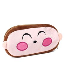 Plush Pencil Pouch Smiley Embroidery - Brown