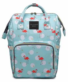 My NewBorn Backpack Style Diaper Bag Flamingo Print - Mint