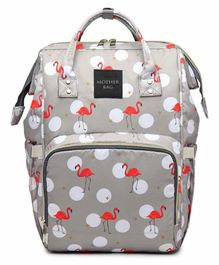 My NewBorn Backpack Style Diaper Bag Flamingo Print - Grey
