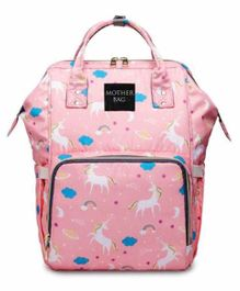 My NewBorn Back Pack Style Diaper Bag Unicorn Print - Pink