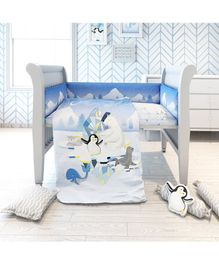 Fancy Fluff 7 Piece Organic Baby Cot Bedding Set Penguin Print - Blue