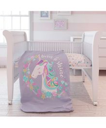 Fancy Fluff Organic Comforter Unicorn Print - Purple