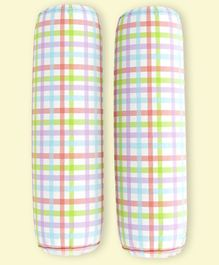 Fancy Fluff Organic Bolsters Checked Print Pack of 2 - Multicolor