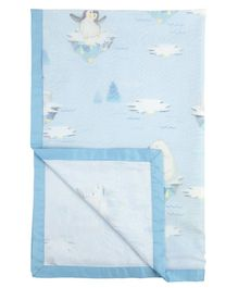 Fancy Fluff Organic Cotton Dohar Penguin Print - Blue