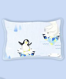 Fancy Fluff Organic Cotton Rai Pillow with Cover Penguin Print - White Blue