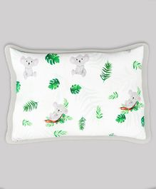 Fancy Fluff Organic Cotton Rai Pillow with Cover Koala Print - White Grey