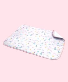 Fancy Fluff Organic Cotton Bed Protector Unicorn Print - White