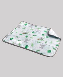 Fancy Fluff Organic Cotton Bed Protector Koala Print - White Grey