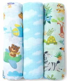 Fancy Fluff 100% Organic Cotton Muslin  Swaddle Wraps Pack of 3 - Blue