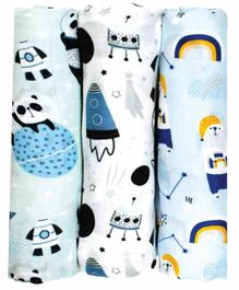 Fancy Fluff 100% Organic Cotton Muslin  Swaddle Wraps Pack of 3 - Blue White