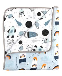 Fancy Fluff Dual Side Printed Organic Toddler Blanket - Blue White