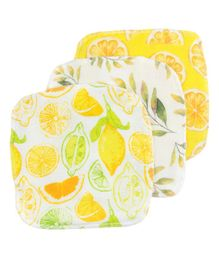 Fancy Fluff Organic Cotton Napkins Citrus Printed Set of 3 - Yellow