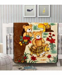 A Homes Grace Mink Blanket Bear Print - Brown